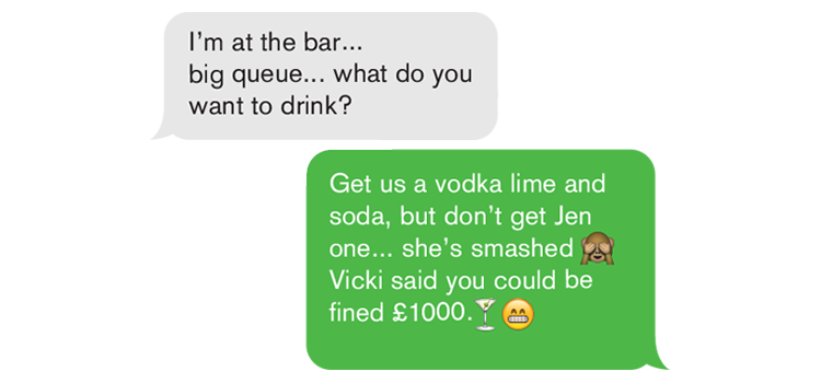 A chat conversation about drinks